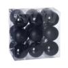 Kép 1/2 - Gömb, műanyag karácsonyfadísz dobozban, 5cm 3 féle fekete  18db