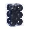 Kép 1/2 - Gömb, műanyag karácsonyfadísz dobozban, 6cm 3 féle fekete  12db