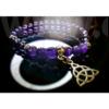 Kép 1/3 - Ametiszt karkötő kelta medállal - női
