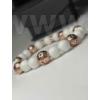 Kép 3/3 - Rózsaarany - Fehér női ásványkarkötő