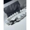 Kép 1/2 - Fehér Erő Férfi Ásvány karkötő