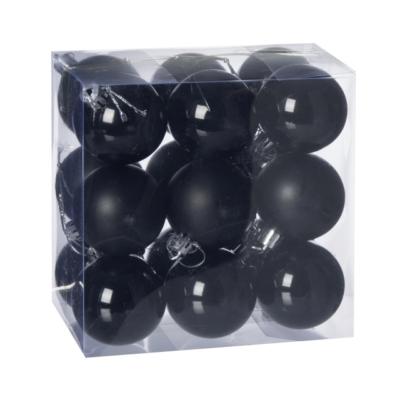 Gömb, műanyag karácsonyfadísz dobozban, 5cm 3 féle fekete  18db