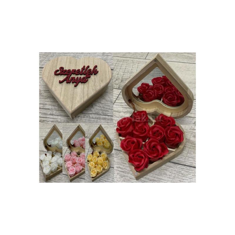 Illatos szappanrózsa szív dobozban