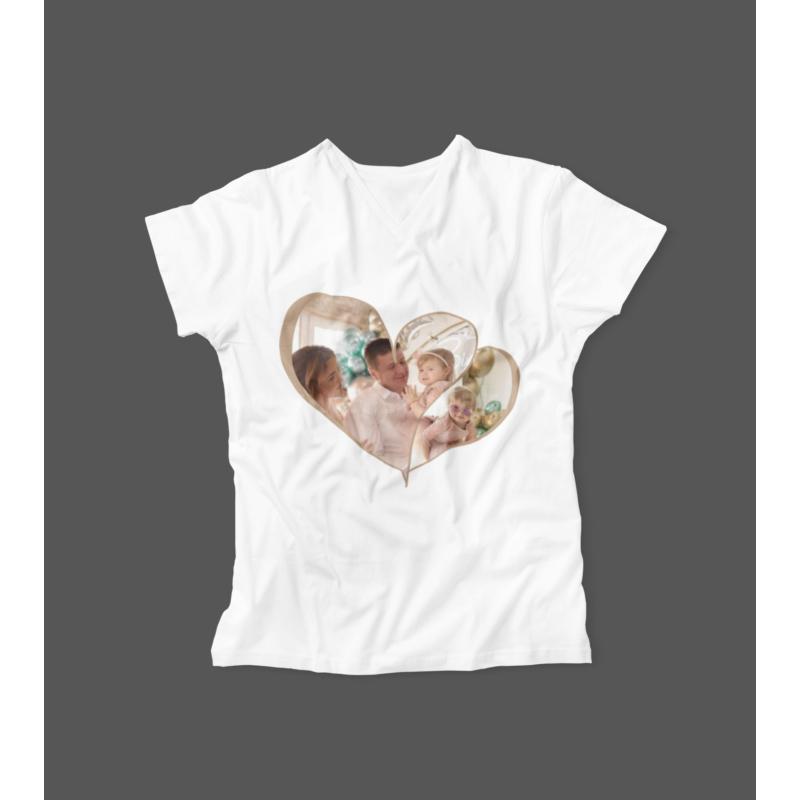 Dupla szív fényképes női póló