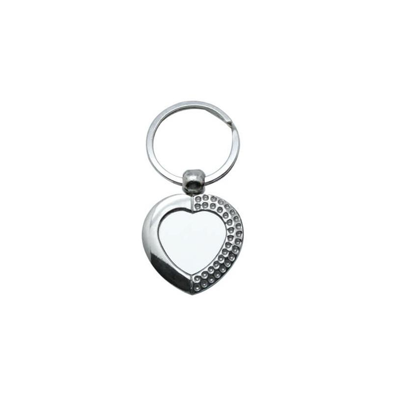 Szív kulcstartó, fém 6,8x3,5cm