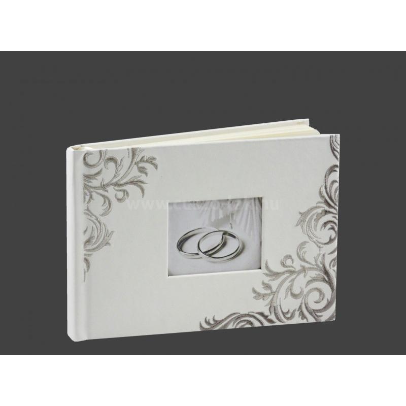 Bőrhatású, hímzett vendégkönyv  fehér színben