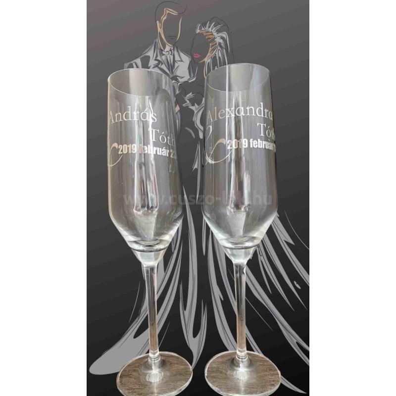 Esküvői pezsgőspohár szett, felirattal