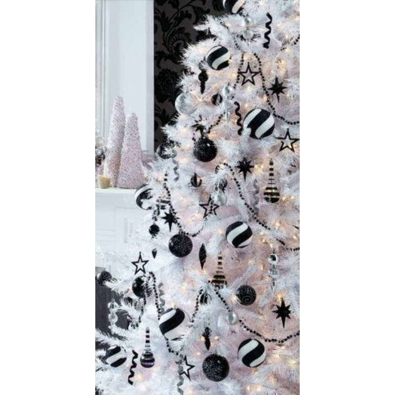 Gömb üveg karácsonyfadísz 4cm fekete fényes-matt 36db