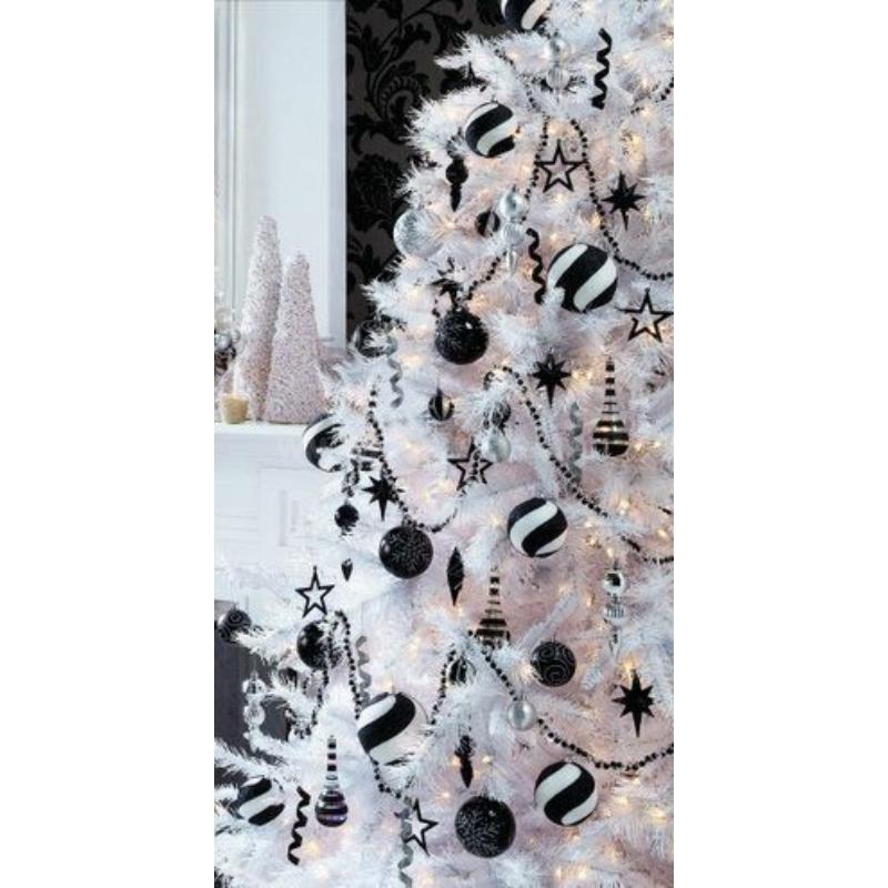 Gömb üveg karácsonyfadísz 5,7cm fekete fényes-matt 36db