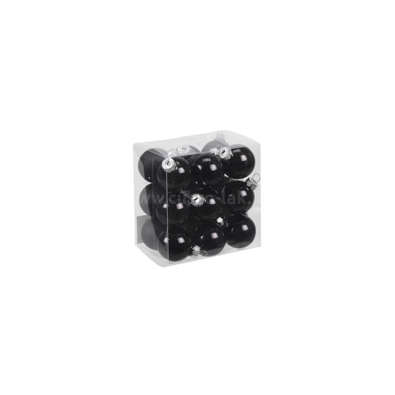 Gömb üveg karácsonyfadísz 3 cm fekete fényes-matt 18db