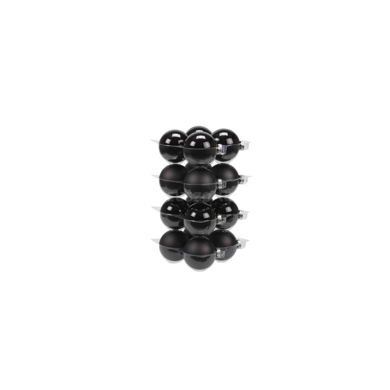 Gömb üveg karácsonyfadísz 8 cm fekete fényes-matt 16db