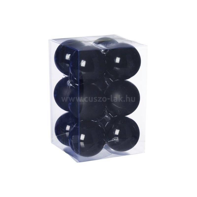 Gömb, műanyag karácsonyfadísz dobozban, 6cm 3 féle fekete  12db