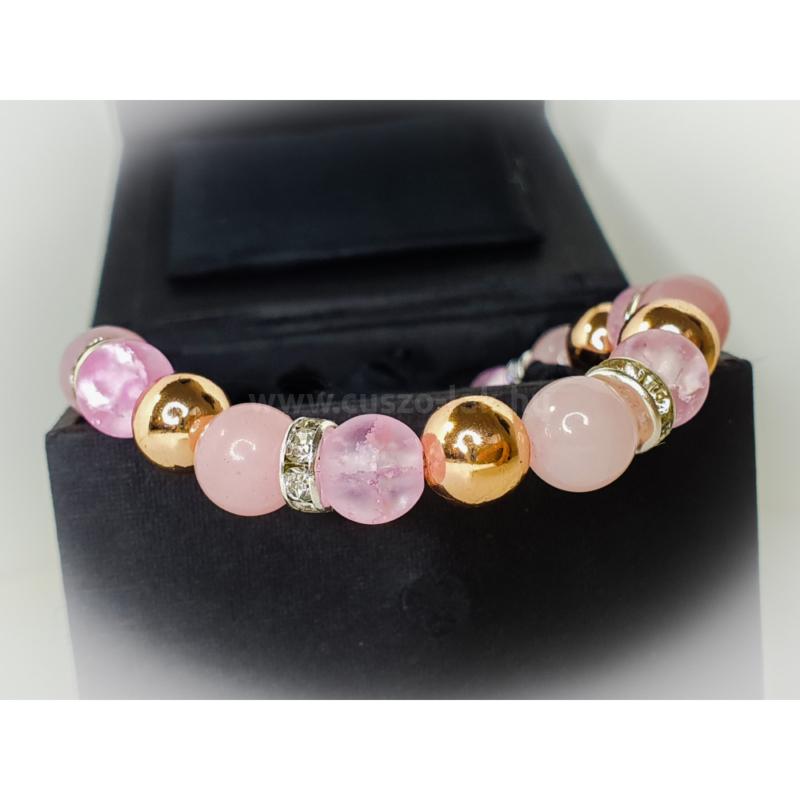Rosegold Rózsakvarc - női ásványkarkötő