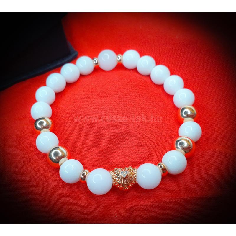 Rosegold cirkónia szívvel - Női ásványkarkötő
