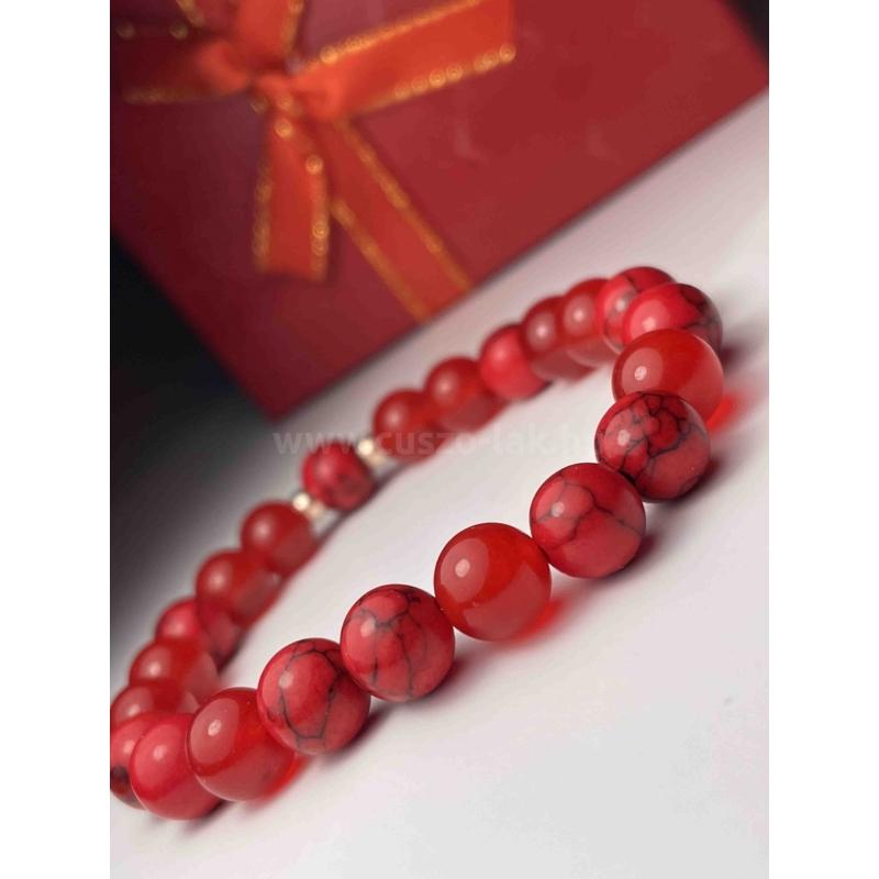Piros talizmán női ásvány karkötő