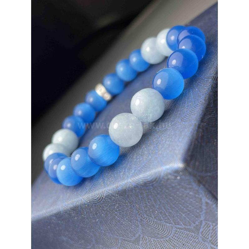 Tengeri kékség női ásvány karkötő