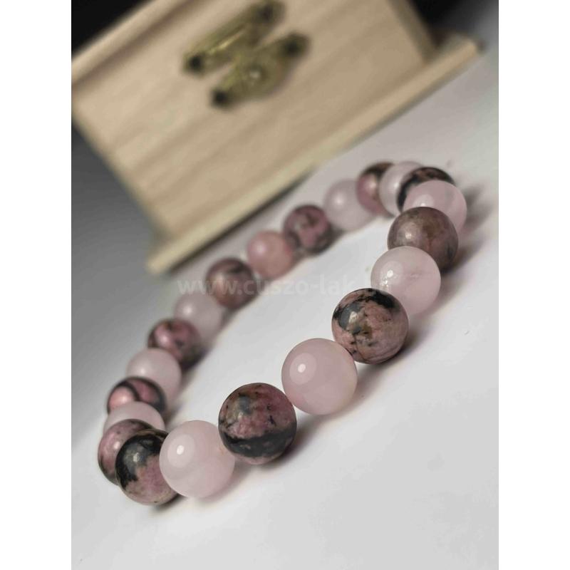 Erőt adó rózsaszín női ásvány karkötő
