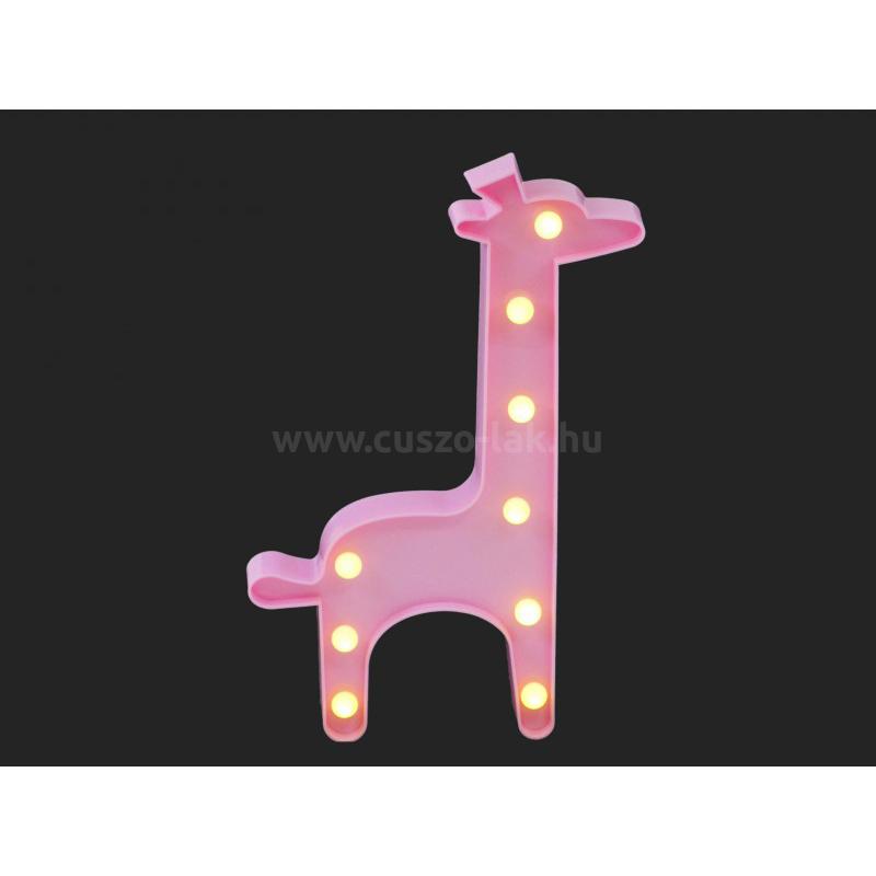 9 LEDes fali világító zsiráf 30cm , pink