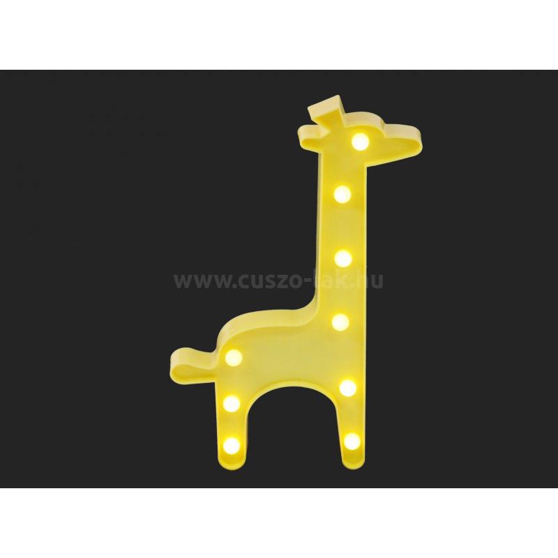 9 LEDes fali világító zsiráf 30cm, sárga