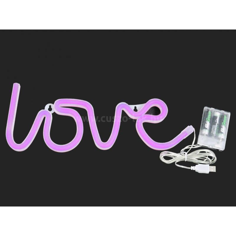 Fali világító Love felirat 35cm, pink