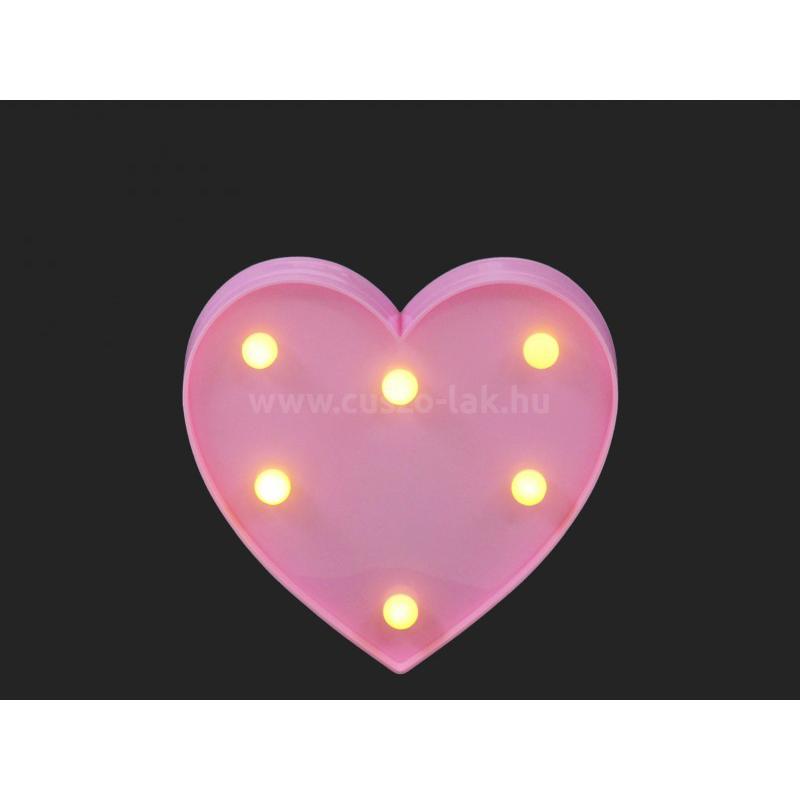 LEDes fali világító szív  pink