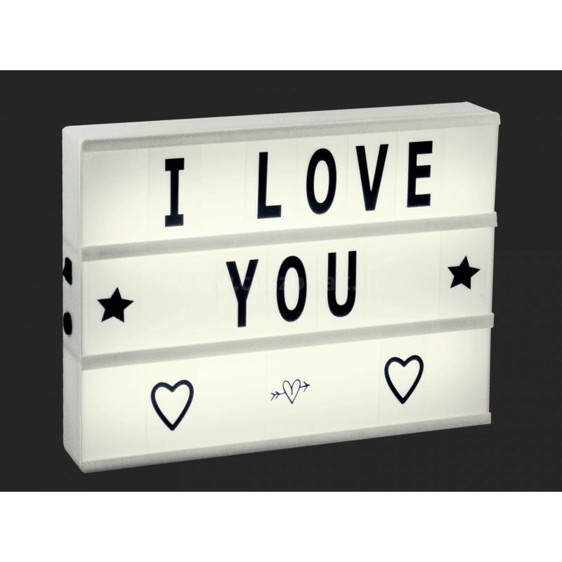 LEDes világító dekor tábla betűkészlettel fehér