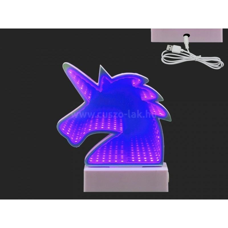 LEDes világító unicornis lila 17cm