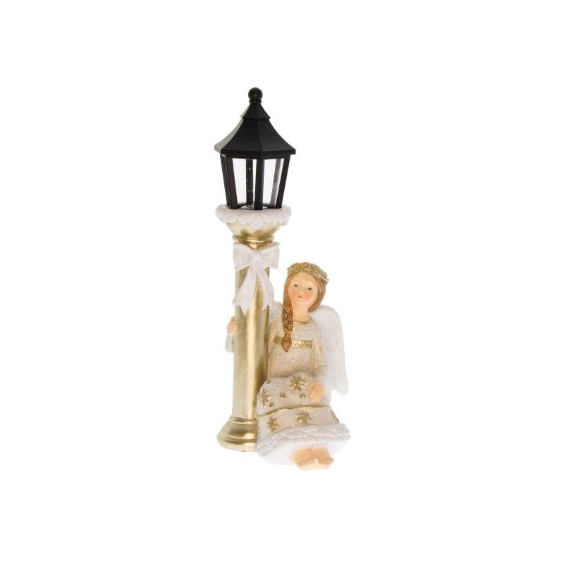 Angyal kandeláberrel glitteres LED világítással