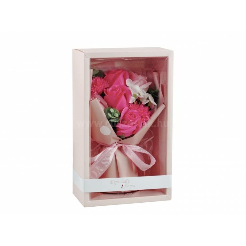 Szappanrózsa virágcsokor díszdobozban, rózsaszín