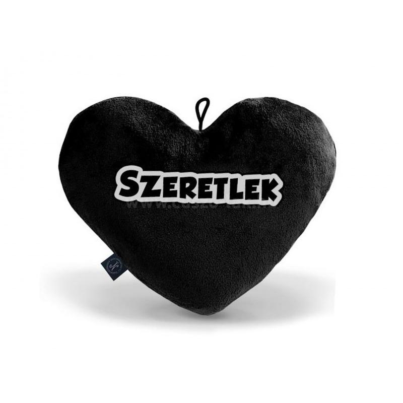 Díszpárna  fekete szív Szeretlek 25cm
