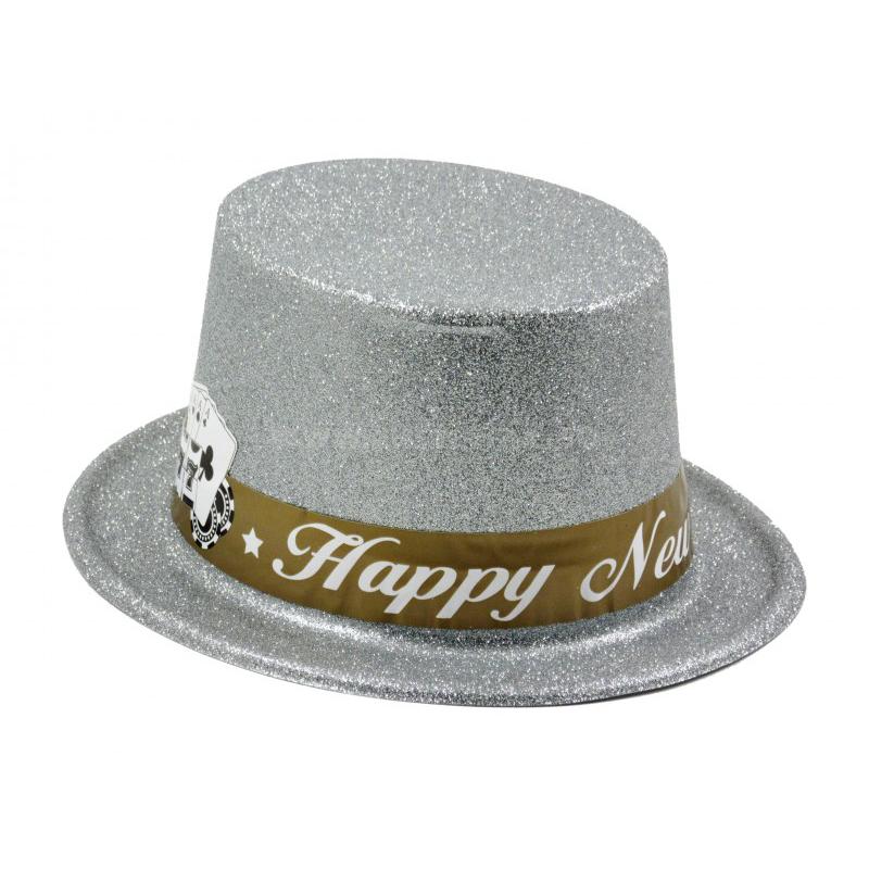 Party kalap Happy New Year ezüst