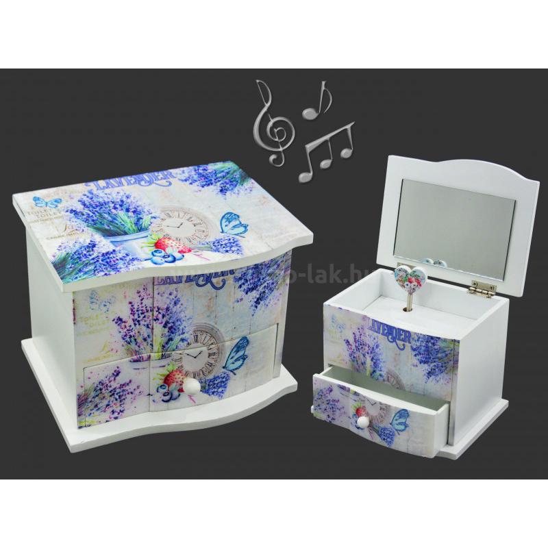 Zenélő ékszertartó  kék
